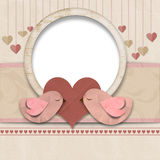 Happy Valentines Day. Background with hearts and bird Royalty Free Stock Photography