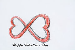 Happy Valentines Day Background made from two  hearts. Happy Valentines Day Background made from two red hearts.Endless love Royalty Free Stock Image