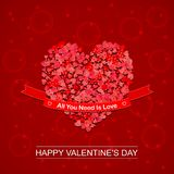 Vector Happy Valentines Day background with paper hearts, ribbon and lettering. Template for festive design, greeting. Happy Valentines Day background with paper Royalty Free Stock Photography