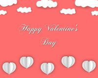 Happy Valentines Day background in paper style. stock illustration