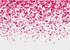 Happy Valentines day background  with pink  heart confetti. Pink  heart confetti, Valentines day background.  Design element for romantic love greeting card Royalty Free Stock Photography