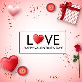 Happy valentines day background. Red pink hearts, candles, rose flower, present, red gold confetti and ribbon. Illustration of Happy valentines day background Royalty Free Stock Images