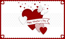 Happy Valentines Day  background. Red and white hearts as a symbol of love, ribbon and butterly. Stock Photos