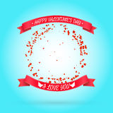 Happy Valentines day background with round frame. Of particles like hearts. Vector illustration. Can be used for your poster, flyer, other design stock illustration