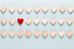 Happy Valentines day background. With small hearts on pastel background stock image
