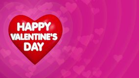 Happy Valentines Day background, text on the red big heart. Flying little transparent hearts, copy space on right side stock footage