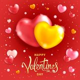Valentines Day Background. Happy Valentines day background. Two large hearts - symbol of love. Template for greeting card, calendar, banner, poster, invitations Royalty Free Stock Image