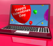 Happy Valentines Day Balloons On Laptop Show Love Stock Images
