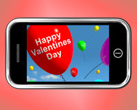 Happy Valentines Day Balloons On Mobile Show Love Royalty Free Stock Photo