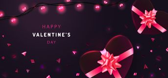 Happy Valentines Day banner background with realistic gift boxes, glitter confetti and glowing garlands. Holiday greetings card, p vector illustration
