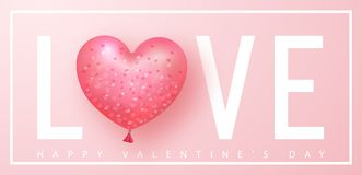 Happy Valentines day banner. Beautiful Background with heart shaped air balloon. Vector illustration for website vector illustration