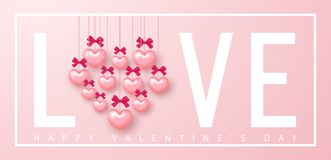 Happy Valentines day banner. Beautiful Background with Hearts and bows. Vector illustration for website , posters, email. And newsletter designs, ads, coupons Stock Images