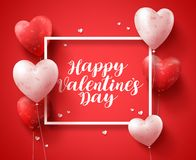 Happy valentines day banner design typography text with red heart shape balloons royalty free stock photography