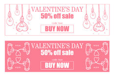 Happy valentines day banner with heart, set of two banner of valentine`s day Royalty Free Stock Photos