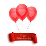 Happy Valentines day banner with three balloons Stock Photography