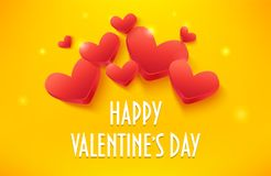 Happy Valentines Day banner with volume hearts on yellow background. Vector card Royalty Free Stock Photography