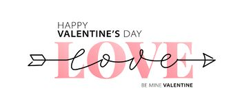 Happy Valentines Day. Be my Valentine. Love. Hand drawn text greeting card. Vector illustration stock photos