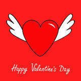 Happy Valentines Day. Big heart with wings. Cute cartoon contour sign symbol. Winged shining angel hearts. Flat design style. Love Stock Photos