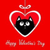 Happy Valentines Day. Big paper heart hangin on dash line with bow. Black cat kitten looking up. Cute cartoon funny animal charact Royalty Free Stock Photos