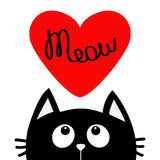 Happy Valentines Day. Black cat looking up to big red heart. Meow text. Cute cartoon character. Kawaii animal. Love Greeting card. Stock Photo