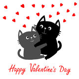 Happy Valentines day. Black Gray Cat hugging couple family. Red hearts Hug, embrace, cuddle. Greeting card. Cute funny cartoon cha Royalty Free Stock Photography