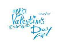 Happy Valentines day - blue watercolor painting, calligraphy text royalty free stock images