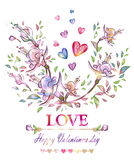 Happy Valentines Day. Bright card.Romantic floral background. Vector illustration, EPS10. Royalty Free Stock Photo