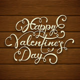 Happy Valentines Day on brown wooden background. White lettering Happy Valentines Day on brown wooden background, illustration Stock Photo