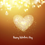 Happy Valentines day cad. Big heart. Decorative light background with lot of little hearts. Vector illustration. Stock Images