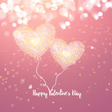 Happy Valentines day cad. Two air heart. Decorative light background with lot of little hearts. Vector illustration. Royalty Free Stock Photos