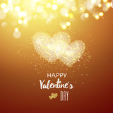 Happy Valentines day cad. Two heart. Decorative light background with lot of little hearts. Vector illustration. Stock Images