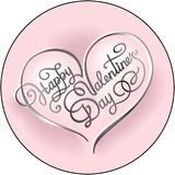 Happy Valentines Day calligraphic lettering round romantic greet Royalty Free Stock Photo