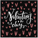 Happy valentines day. Calligraphic letters. Royalty Free Stock Photos