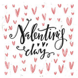 Happy valentines day. Calligraphic letters. Stock Photo