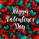 Happy Valentines Day Calligraphy Lettering of Red Hearts Volume. Royalty Free Stock Photography