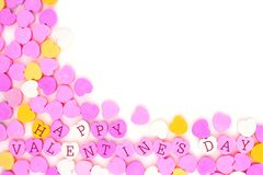 Happy Valentines Day candy hearts corner border over white Royalty Free Stock Image