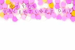 Happy Valentines Day candy hearts top border over white Stock Photography