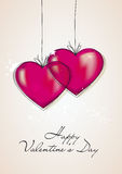 Happy Valentines Day card. Two artistic red hearts and the words Happy Valentine's Day vector illustration
