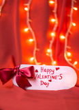 Happy Valentines day card against red background. Happy Valentines day card against red festive background Stock Image