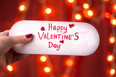 Happy Valentines day card against red background Royalty Free Stock Photo