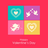 Happy Valentines day card with angel, doves and. Hearts. Flat icons for Valentines day stock illustration
