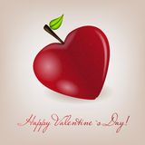 Happy Valentines Day card with apple heart. Vector Stock Image