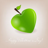 Happy Valentines Day card with apple heart. Vector Stock Photography