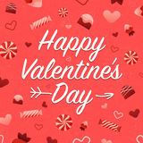 Happy Valentines Day Card. On background with candies and hearts pattern Stock Photo