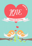 Happy Valentines Day card background with lovely birds couple Stock Images