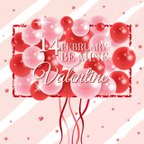 Happy valentines day card with balloons. Vector illustration. Wallpaper, flyers, invitation, posters, brochure, banners. Happy valentines day card with balloons Stock Image