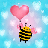 Happy Valentines Day card with bee. Happy Valentines Day card. Cute vector illustration stock illustration