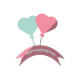 Happy valentines day card blue and pink heart flying banner. Vector illustration eps 10 Stock Photography