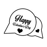 Happy valentines day card bubble hearts outline Stock Image