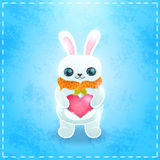 Happy Valentines day card with bunny and heart Stock Photos